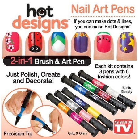 Hot Designs Nail Art Pens, Glitz/Glam - Walmart.com