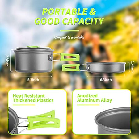 AIRE 16 Pcs Camping Cookware Set Stove Canister Stand Tripod Outdoor Hiking Picnic Non-Stick Cooking Backpacking with Folding Knife and Fork Set Mess Kit thumbnail