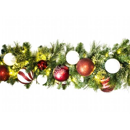 Winterland WL-GARSQ-09-CDY-LWW Led Sequoia Garland Decorated With The Candy Ornament Collection - Winterland Theme