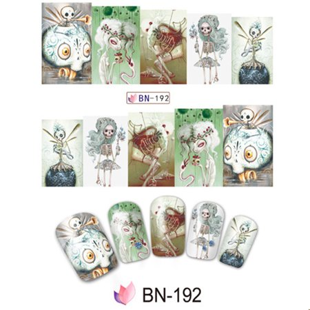10pcs Halloween Skull Nail Wraps Medical Grade Stickers Set Adhesive Polish Foils Nail Art Tool Safe&Non-toxic, Not Easy to Fall off Specification:BN-192