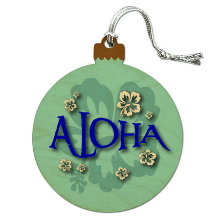 Aloha Hawaiian Greeting Hibiscus Flowers Wood Christmas Tree Holiday Ornament