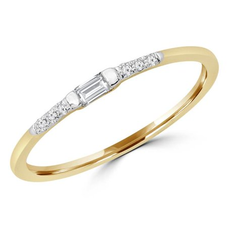 Majesty Diamonds MDR190053-3.75 0.1 CTW Baguette Diamond Solitaire with Accents Wedding Band Ring in 14K Yellow Gold - Size 3.75