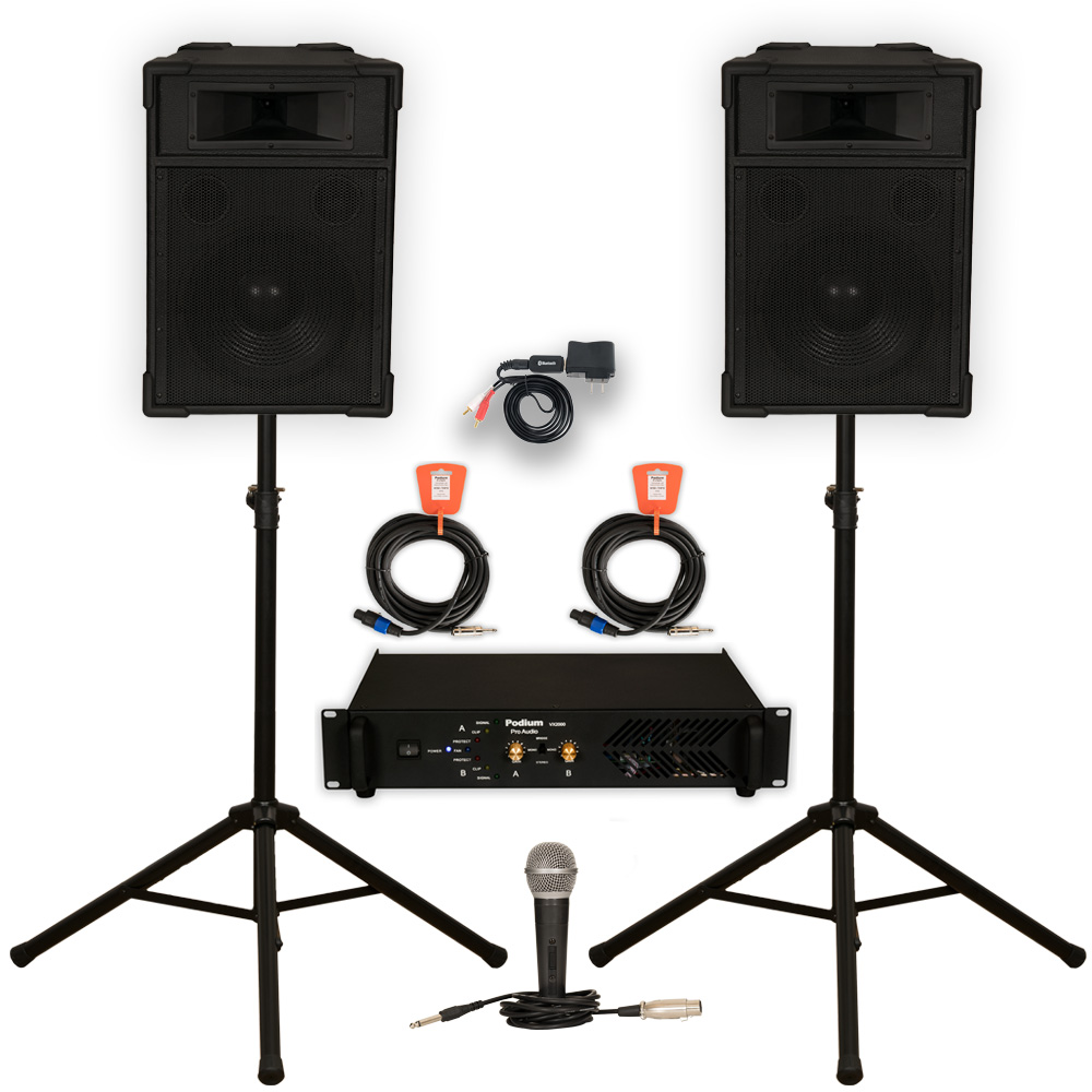 "Podium Pro 12"" Speakers, Stands, Amp, Cables, Bluetooth and Mic PA DJ Karaoke TRAP12SETB"