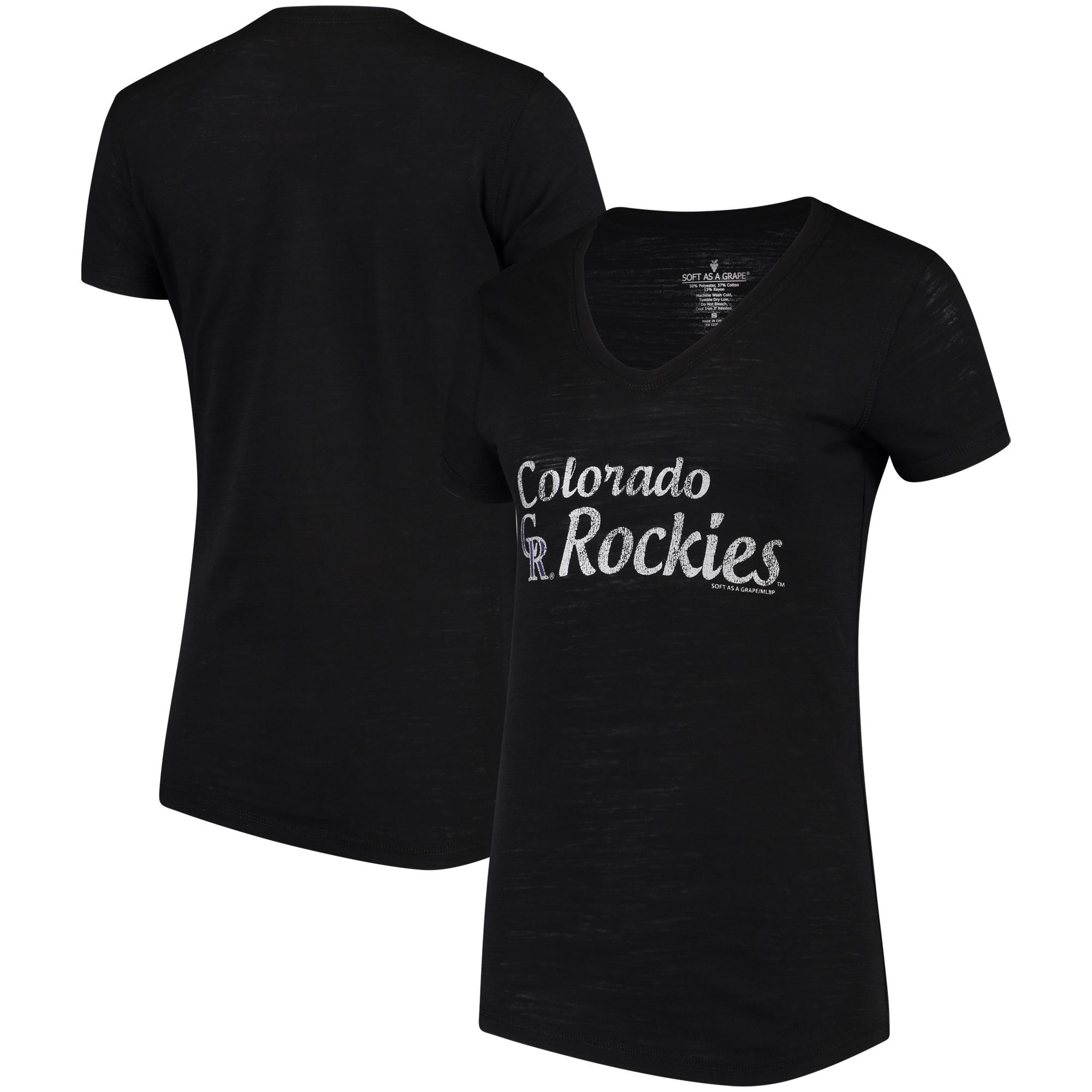 Colorado Rockies Soft As A Grape Women's Double Steal Tri-Blend V-Neck T-Shirt - Black