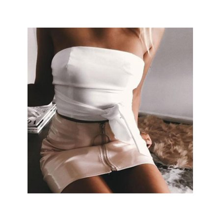 Womens High Waist Skirt PU Leather Metal Hoop Zipper Pencil Slim Mini Skirt (Zara Faux Leather Pencil Skirt)