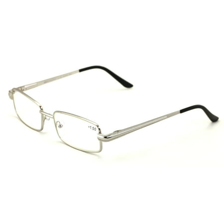 Men Metal Rectangle Computer Reading Glasses - Reduce fatigue, strain, & dry eye