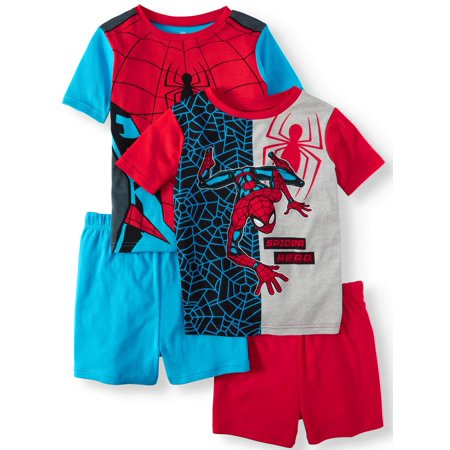 Boys' Spiderman 4 Piece Pajama Sleep Set (Little Boy & Big Boy) (The Amazing Spider Man Suit For Kids)