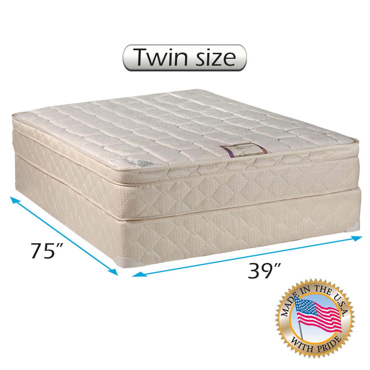 Dream World Inner Spring Pillowtop (Eurotop) Mattress set Bed Frame Included Twin Size - Medium Soft, Fully assembled, Orthopedic, Good for your back, Superior Quality by Dream Solutions USA