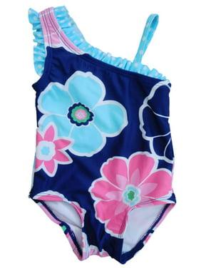 3451e95c53 Product Image Infant Girls 1 Piece Blue Floral Assymetrical Swim Suit  Swimming   Bathing 6m