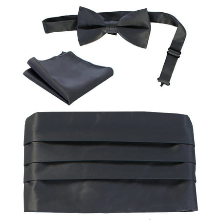 Blue Silk Cummerbunds (Gioberti Kids / Boys' Adjustable Satin And Paisley Cummerbund Set With Formal Bow Tie and Pocket Square )