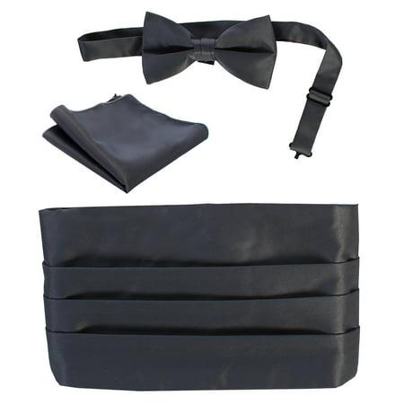 - Boys Satin Formal Bow Tie, Pocket Square, and Cummerbund Set