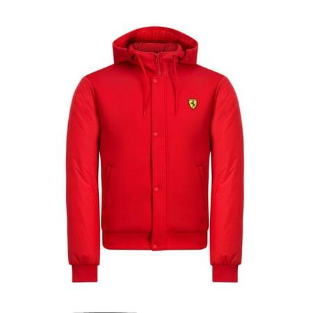 Scuderia Ferrari F1 Men's Hooded Bomber Jacket Red (Ferrari Jacket For Men)