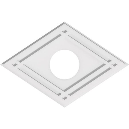 Ekena Millwork CMP26X17DD-06000 6 in. ID x 9 in. Rectangle Diamond Architectural Grade PVC Contemporary Ceiling Medallion - image 1 of 1