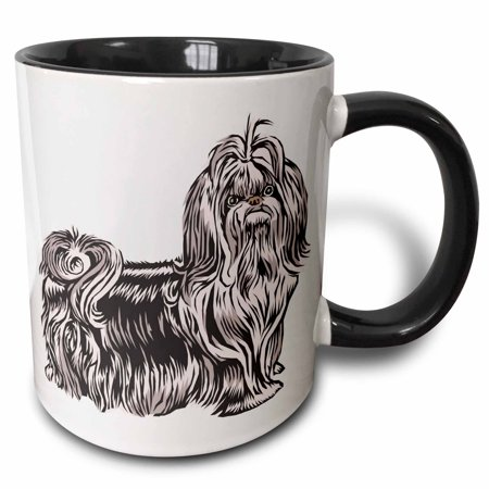3dRose Cute and Cuddly Canine Lhasa Apso - Two Tone Black Mug, 11-ounce