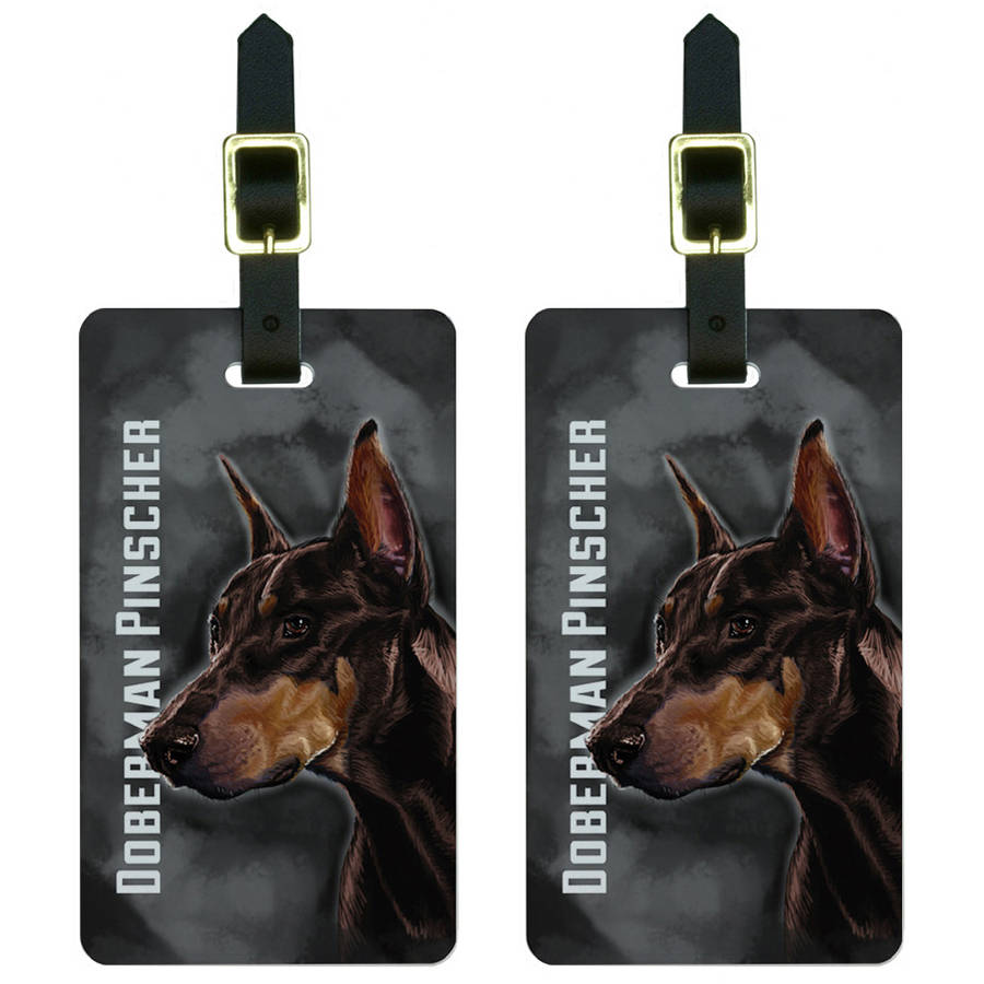 Canine Designs Set of 2 Doberman Pinscher Luggage Tags