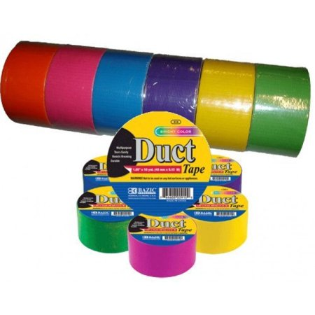 Bazic Fluorescent Colored Duct Tape, Assorted Colors, Pack of 6, 1.89-inch x 10 Yard - Coloured Duct Tape Canada
