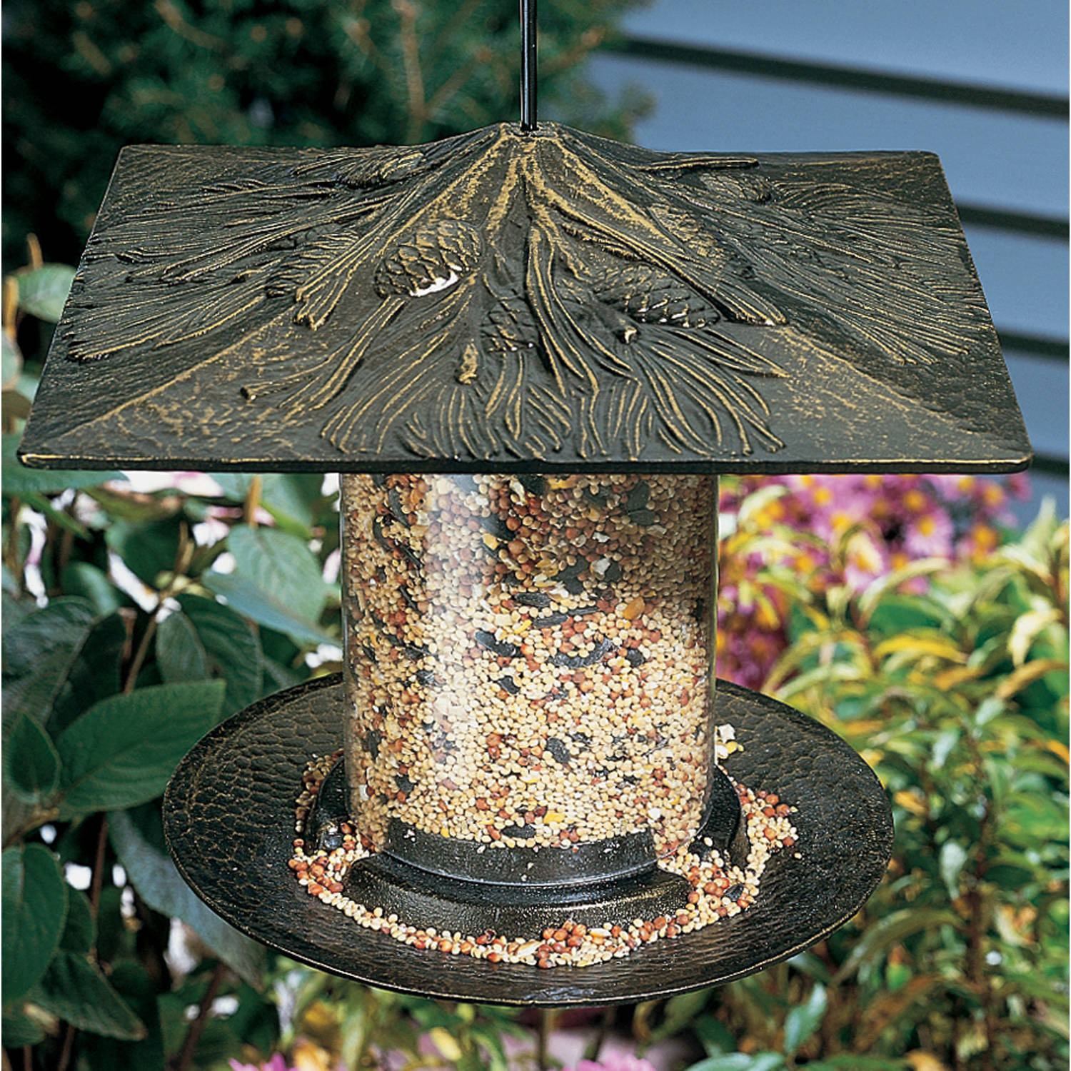 6 Pinecone Tube Feeder, French Bronze