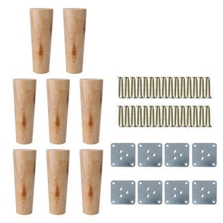 6 Round Solid Wood Furniture Legs Chair Table Cabinet Feet