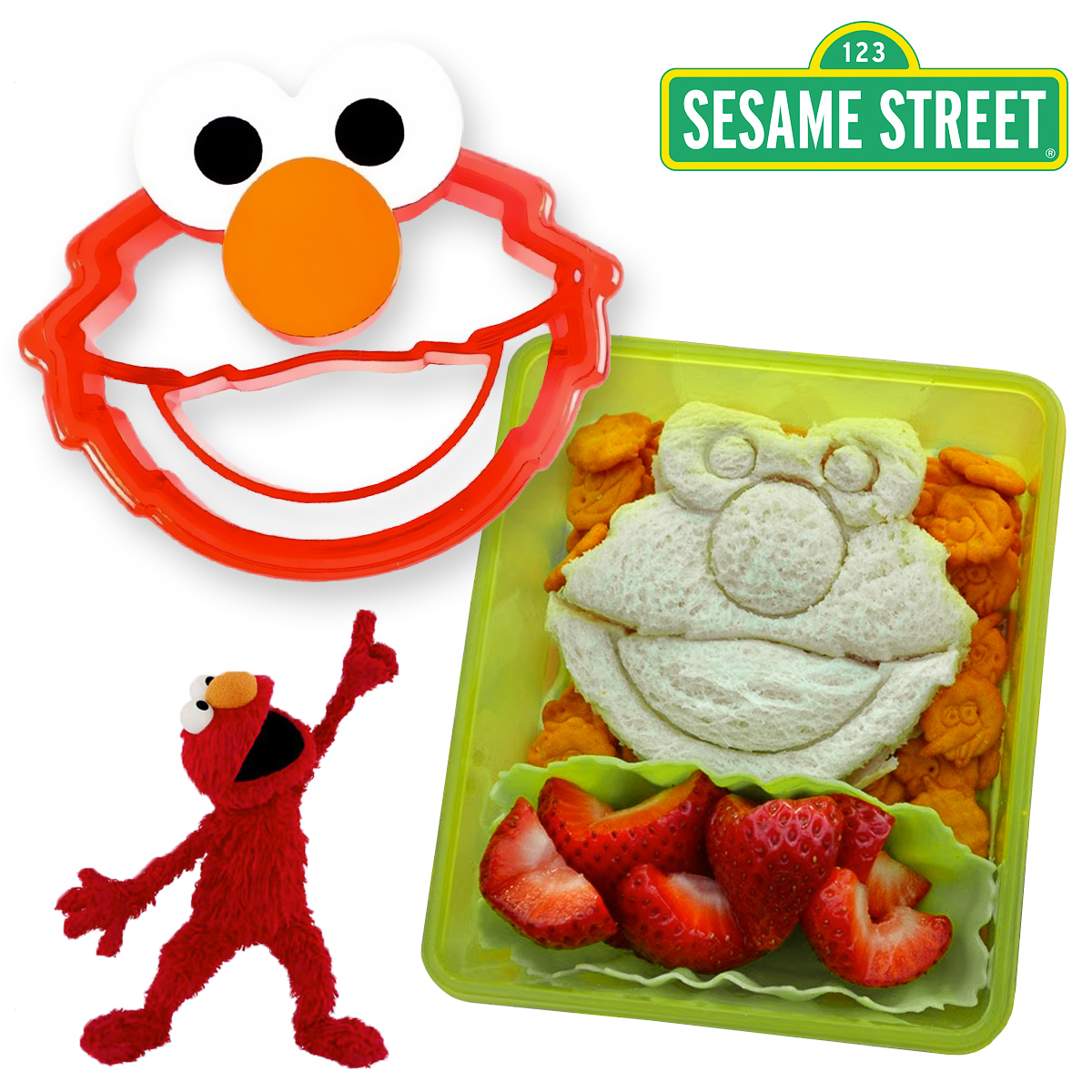 Elmo Evriholder Crust Cutter Bread Remover Sandwich Seasame Street Shapes Cutt'R