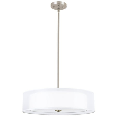 "Kira Home Lindos 20"" 3-Light Double Drum Chandelier + Glass Diffuser, Stem-Hung with Adjustable Height, Brushed Nickel"