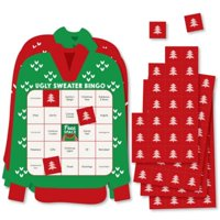 Ugly Sweater - Bar Bingo Cards and Markers - Holiday and Christmas Party Shaped Bingo Game - Set of 18
