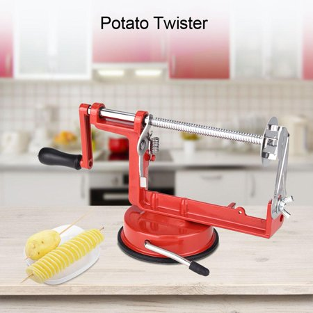 WALFRONT Professional Manual Red Stainless Steel Twisted Potato Slicer Spiral French Fry Vegetable Cutter Suction Base Kitchen Tool