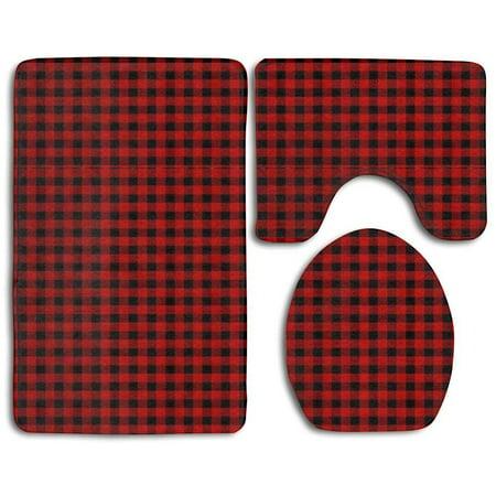 CHAPLLE Custom Rustic Red Black Buffalo Check Plaid 3 Piece Bathroom Rugs Set Bath Rug Contour Mat and Toilet Lid Cover (Rustic Rugs Bathroom)