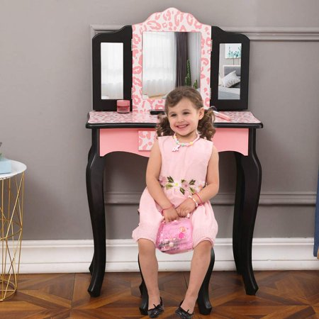 Girls Vanity Set,Trifold Vanity Table Kids Dresser Princess Makeup Dressing Table Girls Vanity Table and Stool Set with Two 180° Folding Mirrors & Drawer for Girls