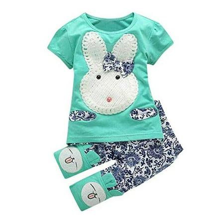 Baby Girl Cartoon Bunny T-Shirt Top And Long Pant 2Pcs Clothes Set (Thumpers Girl Bunny)