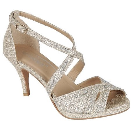 - Excited-90 Women Party Evening Dress Bridal Wedding Rhinestone Platform Kitten Low Heel Sandal Shoes Gold