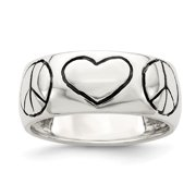 White Sterling Silver Ring Band Themed Polished Antiqued Finish Peace Sign with Heart
