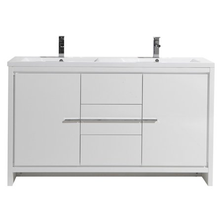 Morenobath Dolce 60 in. Free Standing Double Sink Bathroom Vanity with 2 Doors and 3 -