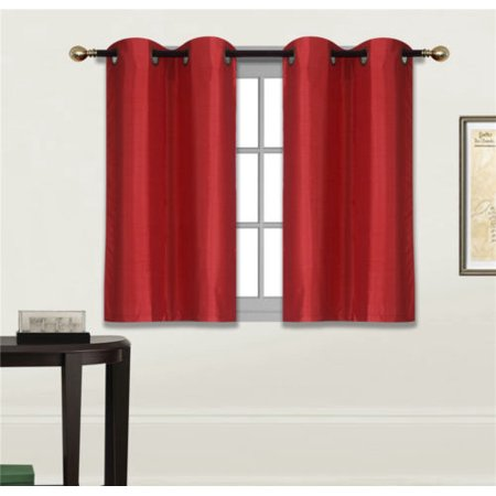 2 Piece N25 RED Luxury Kitchen, Short Window Curtain Semi Sheer Panel , 2 Faux Silk Tier Panels With Bronze Grommets ()