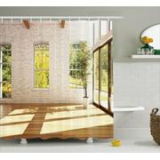 Italian Decor Shower Curtain Summer Town House In Spring Vivid Garden Sunny Sky Print