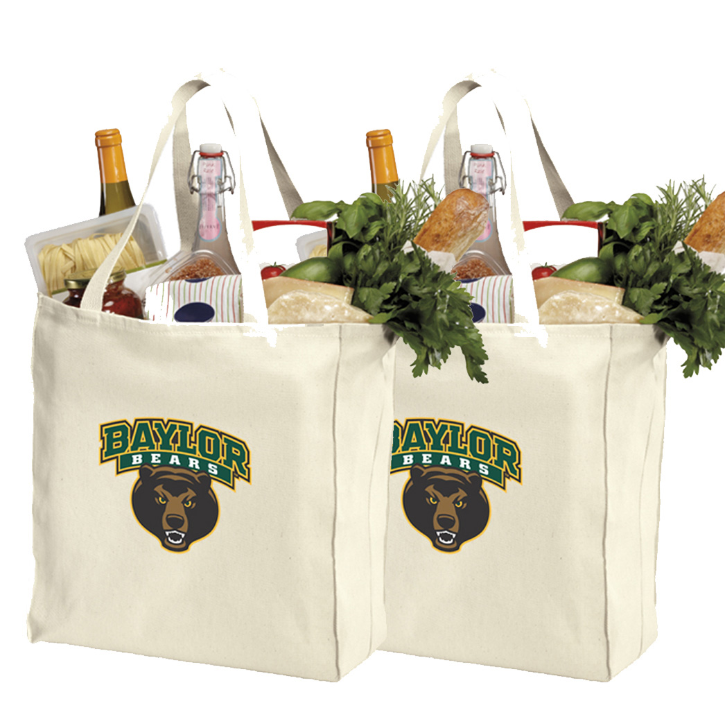 Baylor University Shopping Bags or Cotton Baylor Grocery Bags - 2 Pc Set