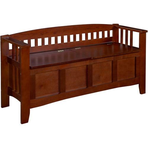 Linon Split Seat Storage Bench, Walnut, 17 inch Seat Height