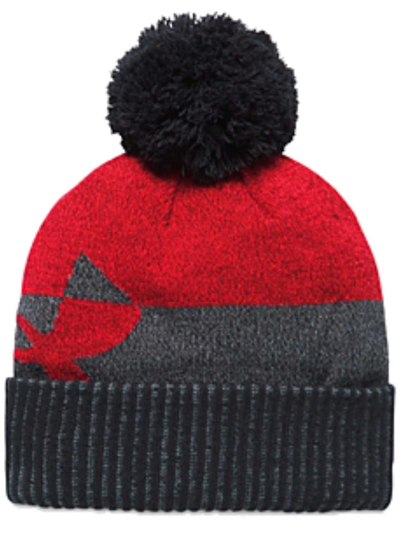 Under Armour Boys Gray Cuffed Beanie Hat With Black Pom