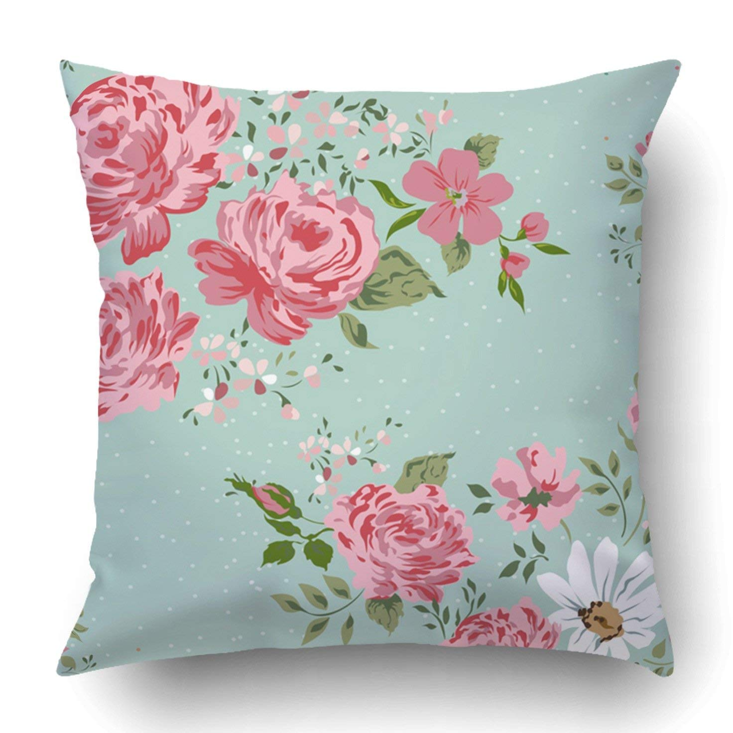 BPBOP Pink Anniversary Vintage Floral Pattern Border Of Flowers Rose Peony Chamomile Pillowcase Cover Cushion 18x18 inch