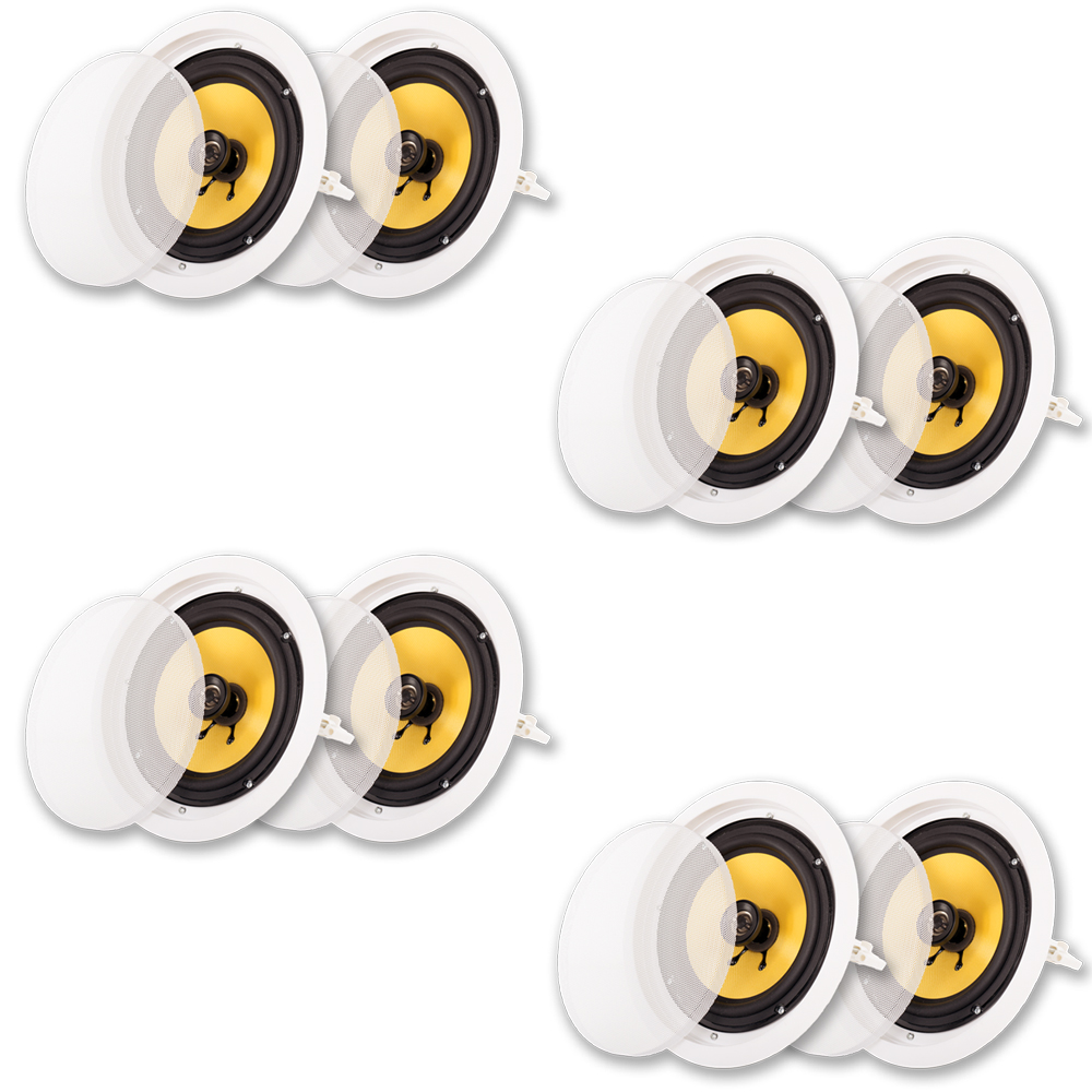 """Acoustic Audio HD-8 In Ceiling 8"""" Speakers Home Theater Surround Sound 4 Pair Pack by Acoustic Audio by Goldwood"""