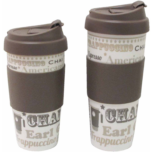 Design for Living 16 oz Mug, Brown and Coffee Talk Pattern, Set of 2