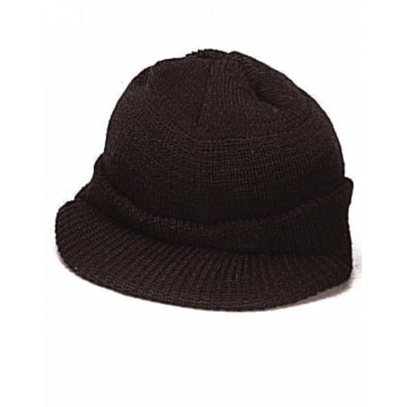Genuine G.I. Black Wool Jeep Cap, Knit Cap with Visor