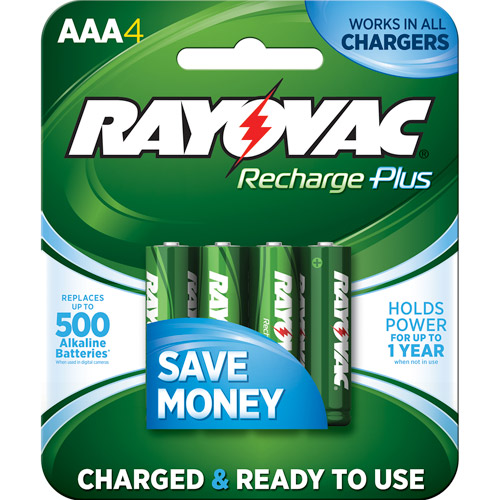 Rayovac Recharge Plus NiMH AAA Batteries, 4-Pack