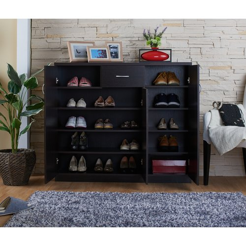 Latitude Run 12 Pair Wood Shoe Storage Cabinet