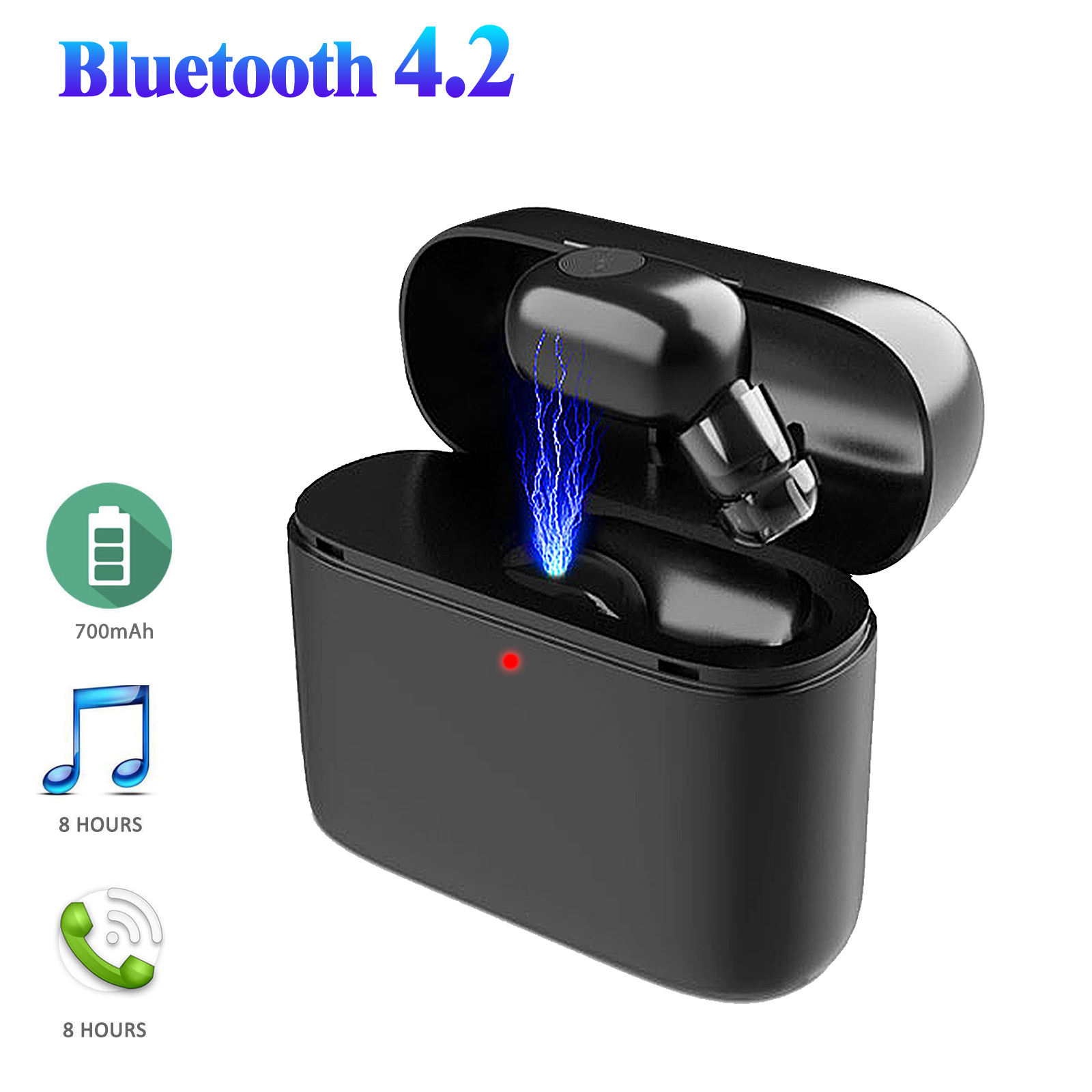 Wireless Bluetooth Earbud, EEEKit Truly Wireless Bluetooth 4.2 Single Earphone In-Ear Stereo Headset Built-in HD Microphone with Charging Case