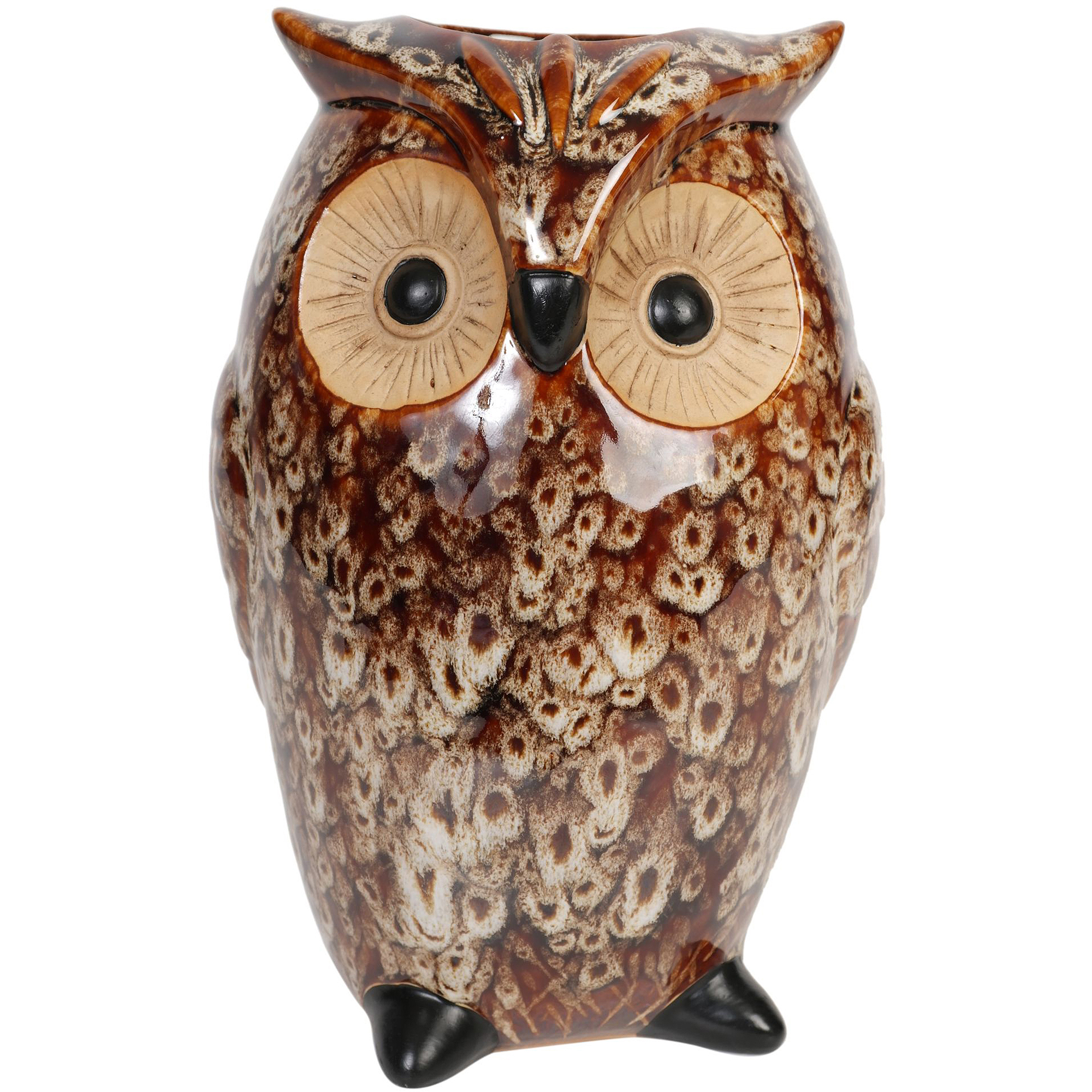 Hosley Ceramic Owl Vase, Brown
