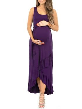 Women's Maternity Sleeveless Ruffle Skirt Dress with Adjustable Waist Band