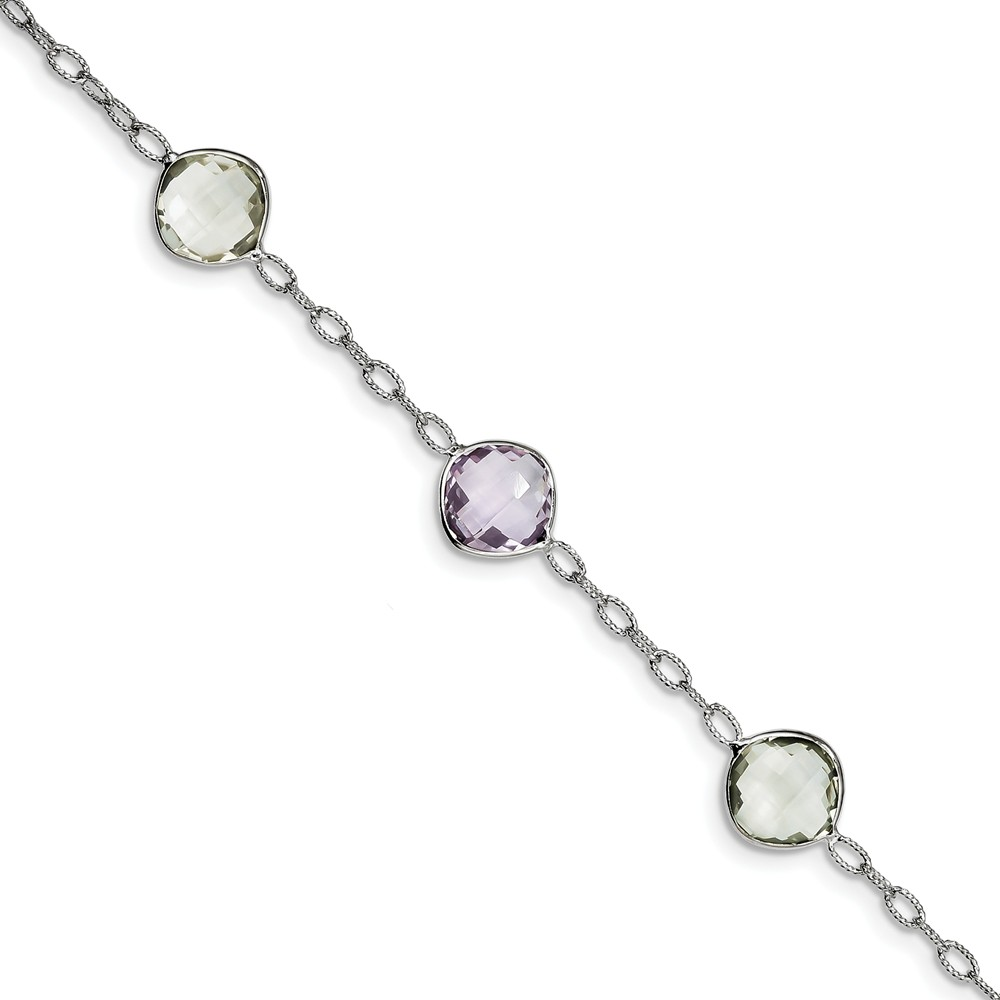 Sterling Silver Simulated Amethyst & Green Simulated Quartz Bracelet with Secure Lobster Lock Clasp (11mm) by AA Jewels
