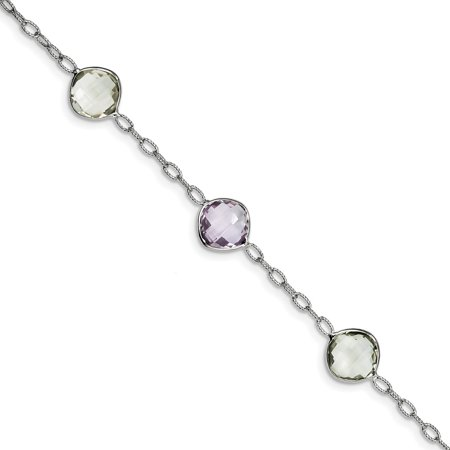 925 Sterling Silver and Rhodium Plated Amethyst and Green Quartz Bracelet