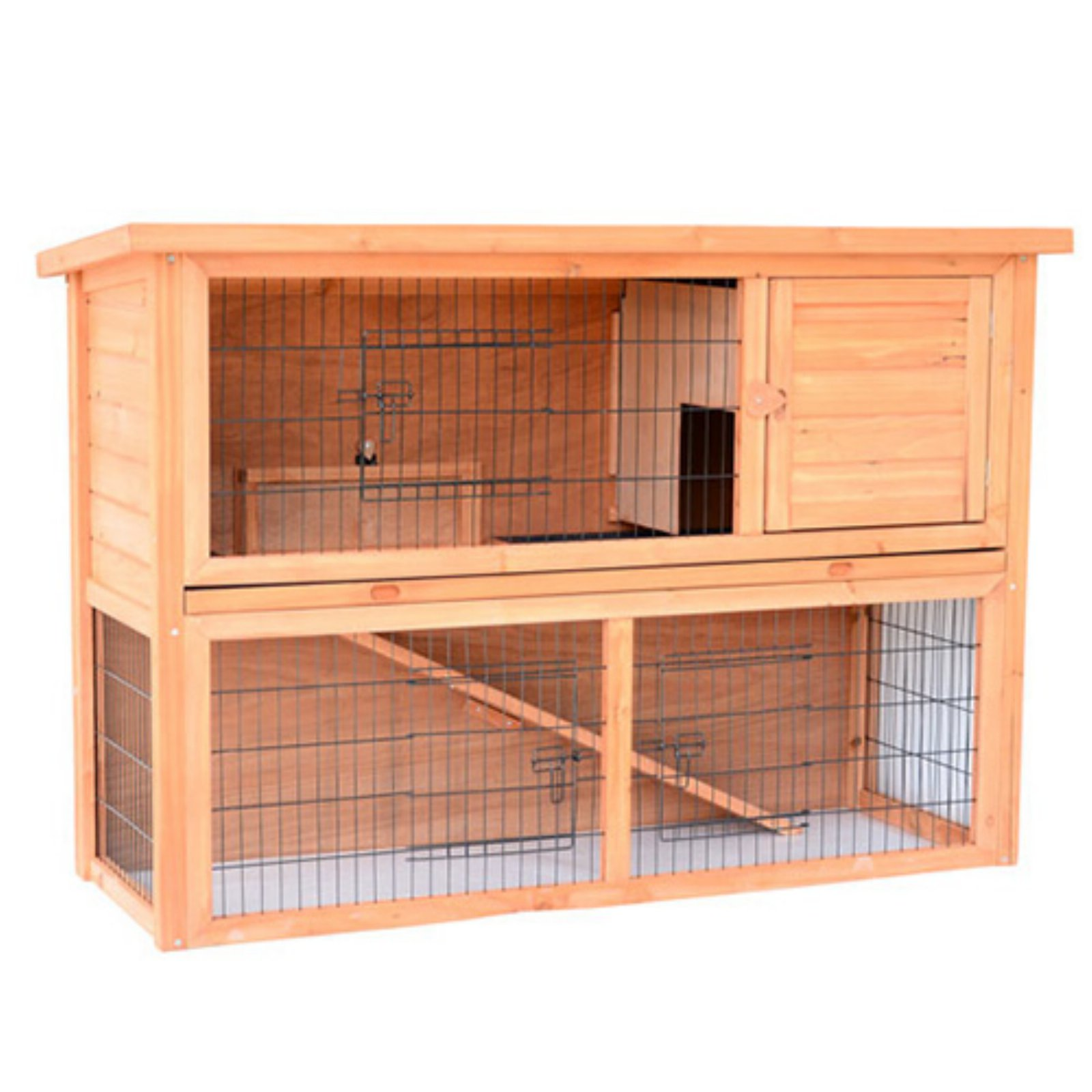 Pawhut 54 in. Wooden Rabbit Hutch/Bunny House with Outdoor Run