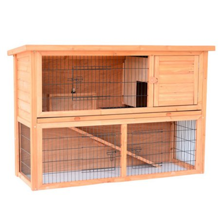 Pawhut 54 in wooden rabbit hutch bunny house with outdoor for Rabbit house images